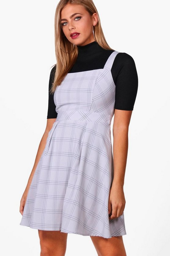Natalie Woven Check Pinafore Dress