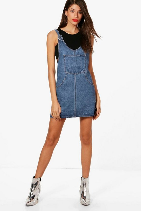 Lucy Eyelet Detail Denim Pinafore Dress