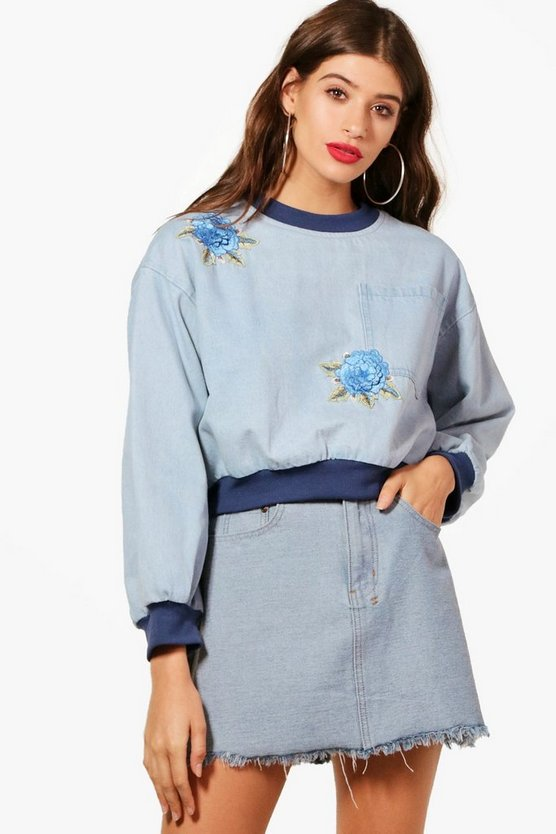 Libby Floral Applique Denim Sweatshirt