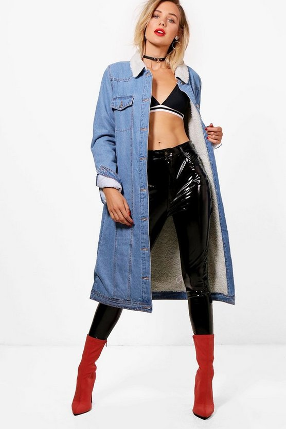 Bella Fully Lined Maxi Borg Collar Denim Coat