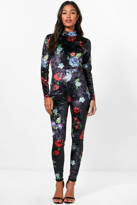 Sasha Printed High Neck Velvet Jumpsuit