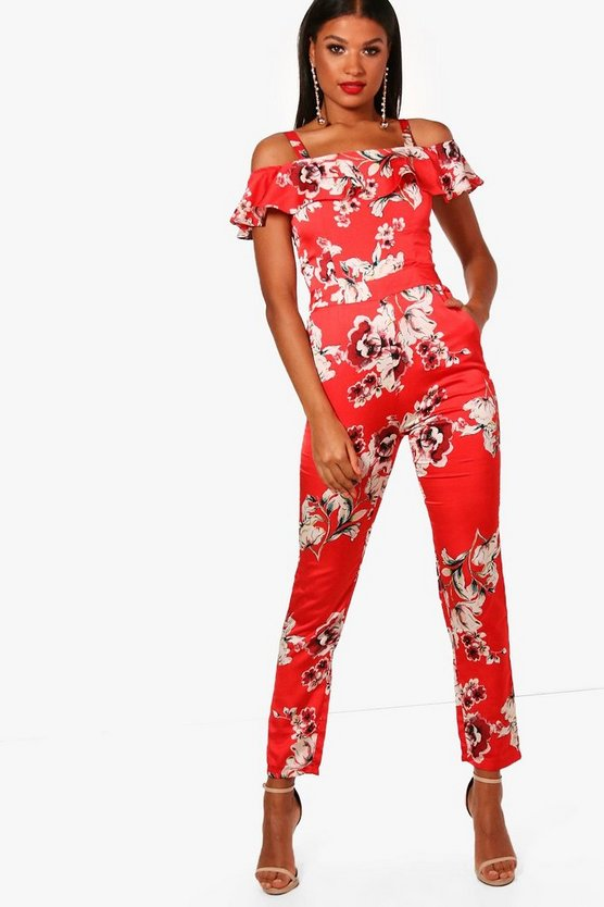 Alisha All Over Floral Cold Shoulder Jumpsuit