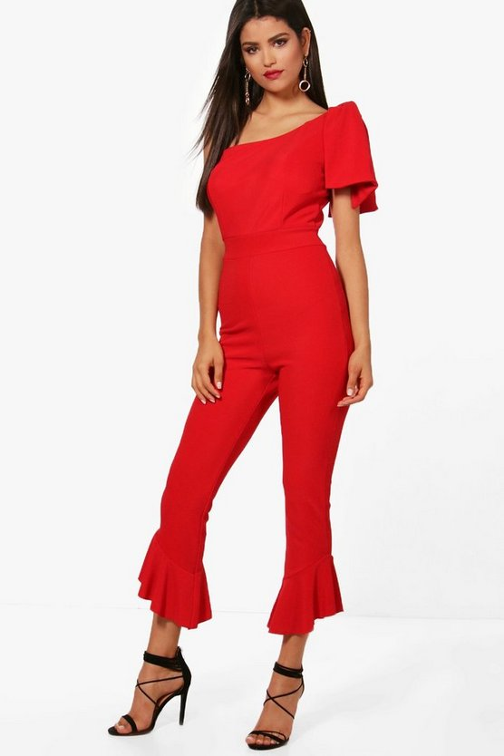 Emily Cold Shoulder Ruffle Leg Jumpsuit