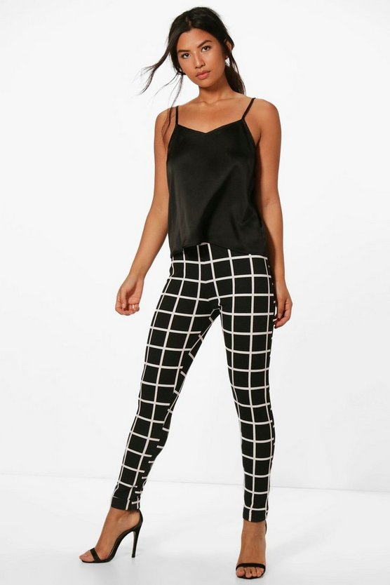 Harper Large Check Stretch Skinny Trousers