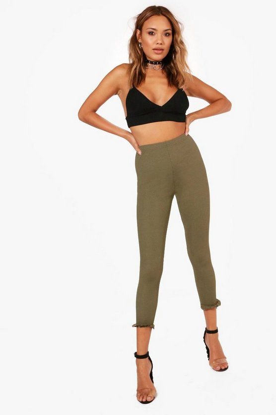 Phoebe Ruffle Ankle Ribbed Leggings