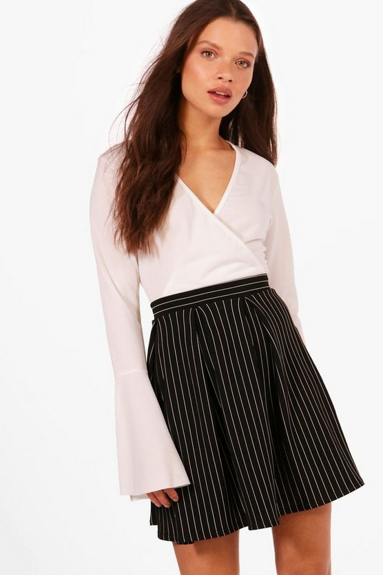 Molly Ribbed Stripe Box Pleat Skater Skirt