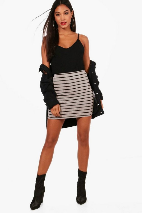 Aisha Grey Marl Stripe Basic Mini Skirt