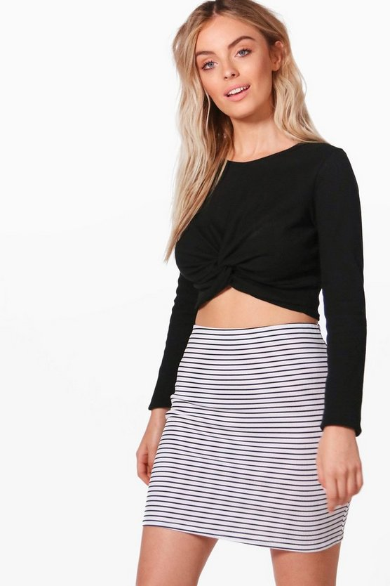 Adriana Mono Stripe Ribbed Mini Skirt