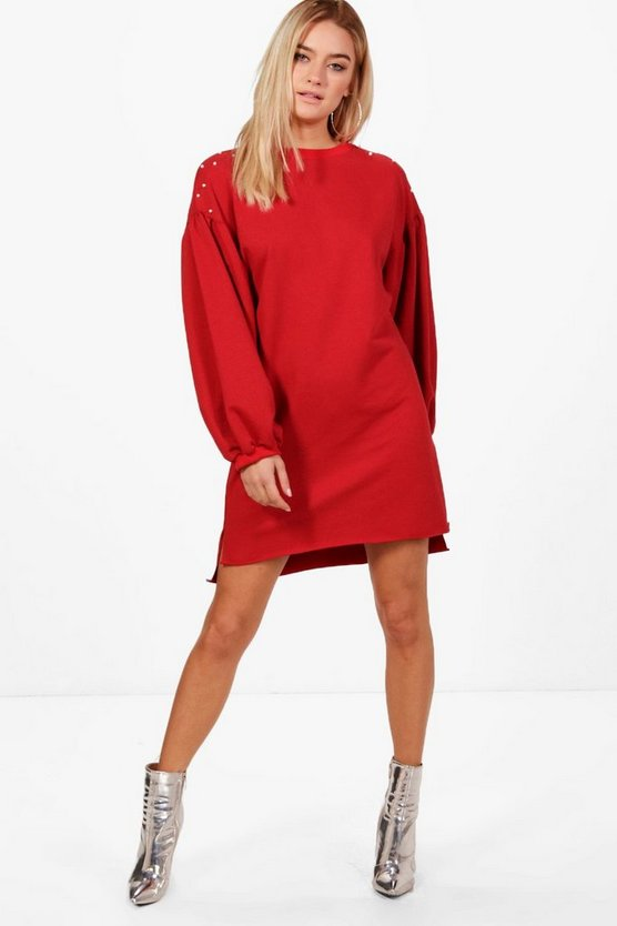Hollie Pearl Detail Extreme Sleeve Sweat Dress