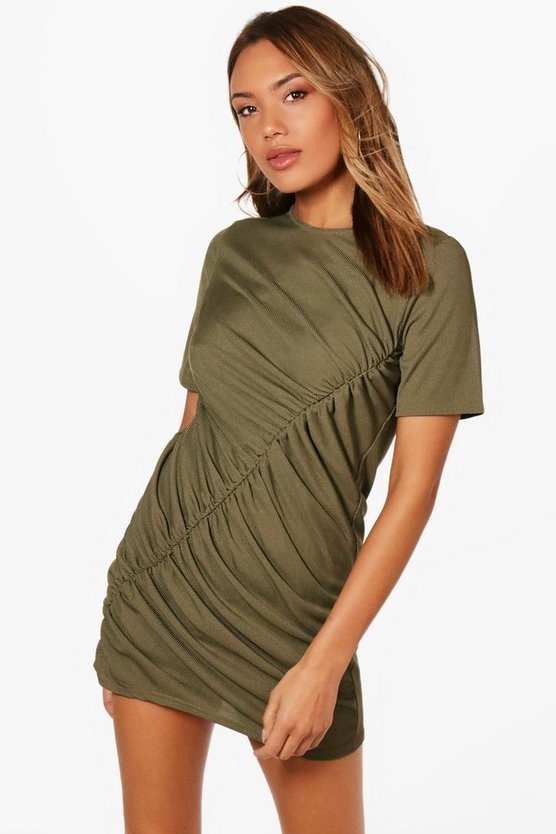 Ella Ribbed Ruched Shift Dress