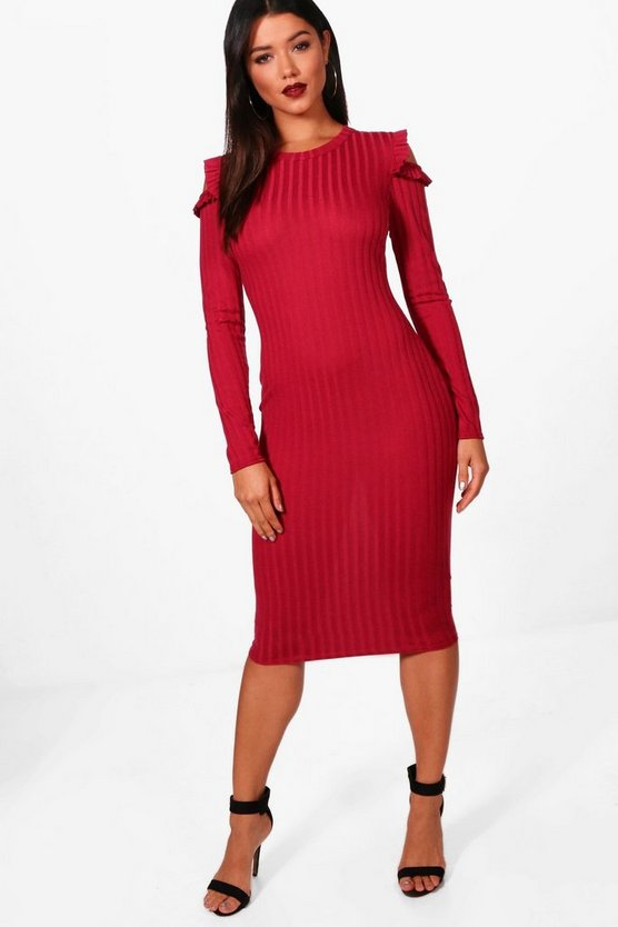 Annie Ribbed Frill Cold Shoulder Midi Dress