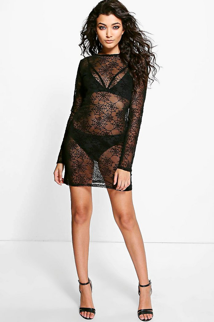 Di Halloween Sheer Spider Bodycon Dress