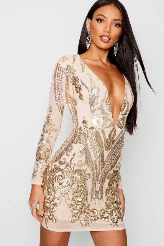 Boutique Christie Sequin Mesh Bodycon Dress