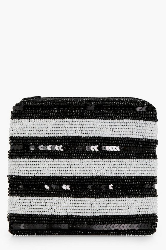 Nancy Mono Stripe Beaded Purse