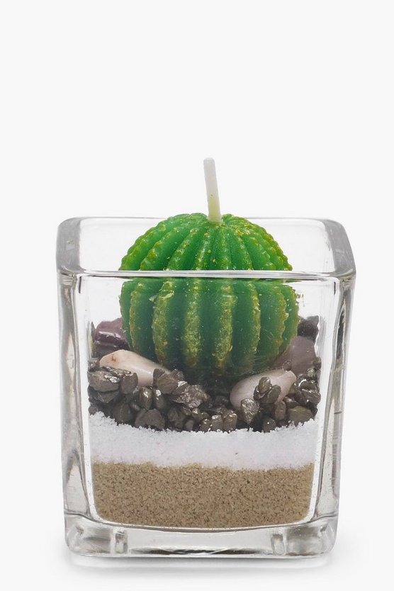 Round Cactus Candle In Sand & Stone Pot