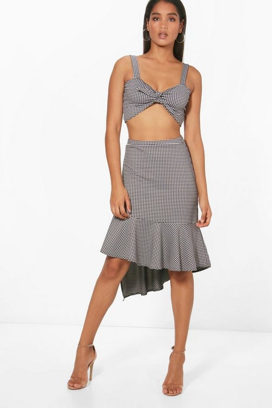 Shani Gingham Bralet & Frill Skirt Co-Ord Set