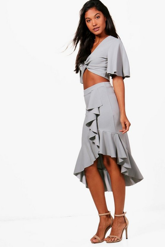 Ruffle Midi Skirt & Crop Co-Ord Set