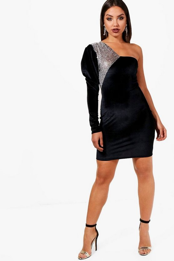 One Shoulder Metallic Panel Mini Dress