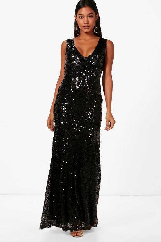 Sequin Plunge Fishtail Maxi Dress