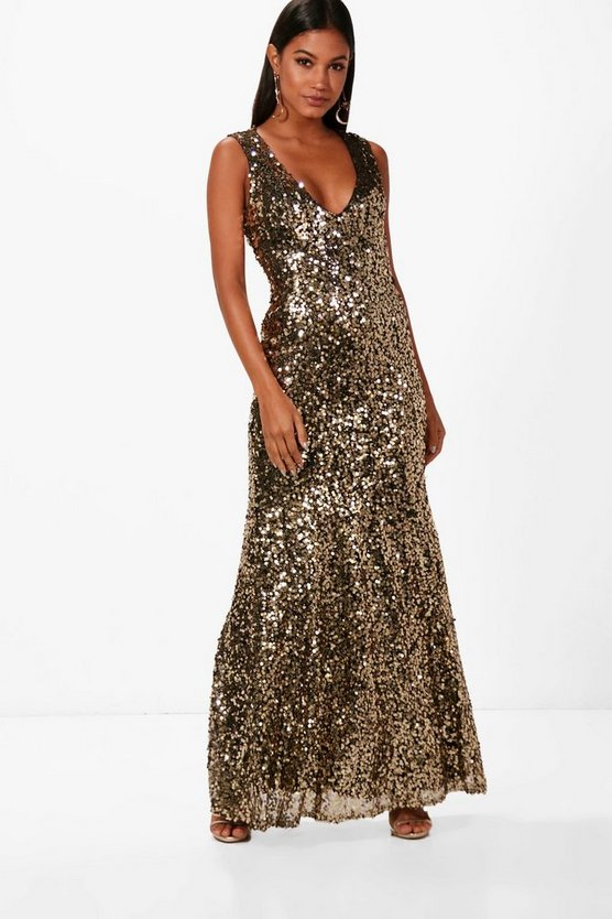 Clare Sequin Plunge Fishtail Maxi Dress