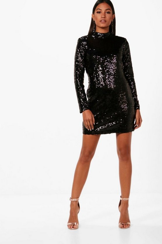Sequin High Neck Power Shoulder Bodycon Dress