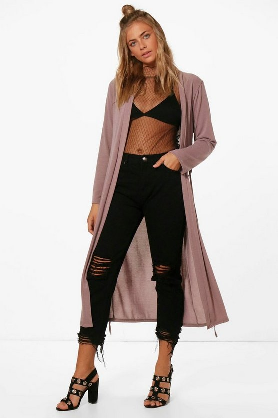 Evie Midi Belted Knitted Duster Cardigan