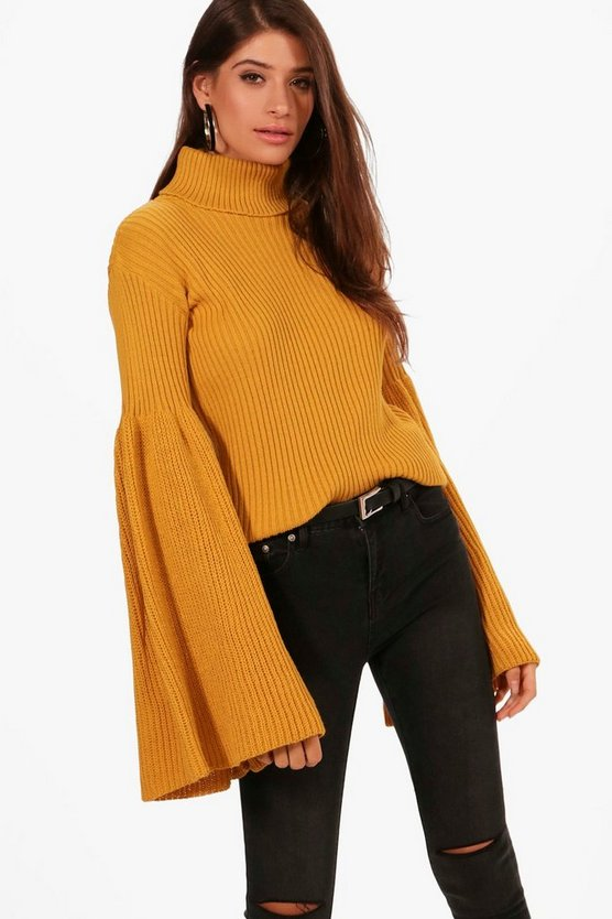 Hannah Roll Neck Maxi Wide Sleeve Jumper