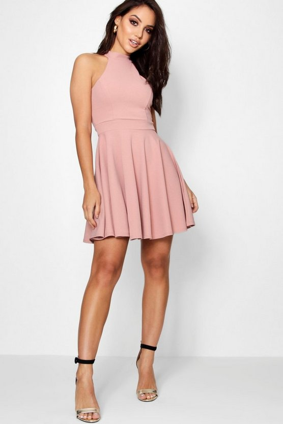 Lottie High Neck Skater Dress
