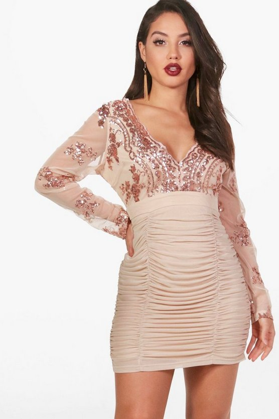 Sequin Top Ruched Skirt Bodycon Dress