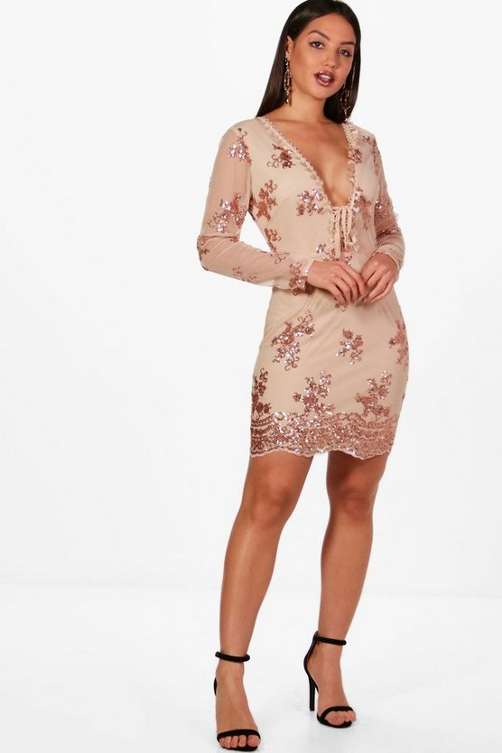 Kenny Sequin Lace Up Detail Bodycon Dress