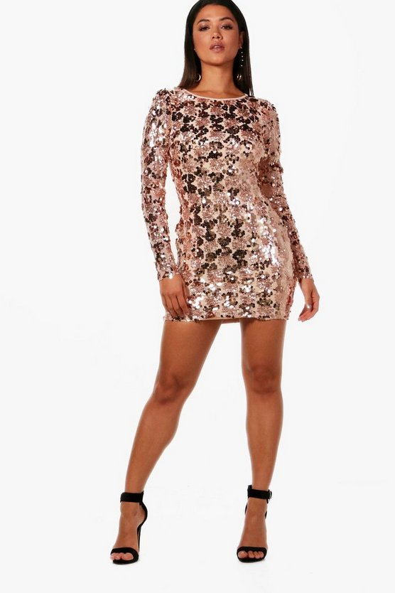 Rose Sequin Lace Up Back Bodycon Dress