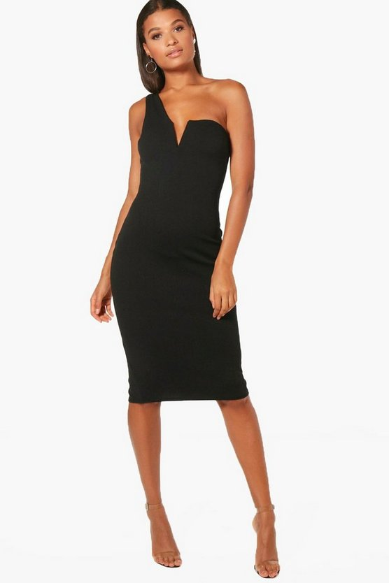 One Shoulder Plunge Neck Midi Dress