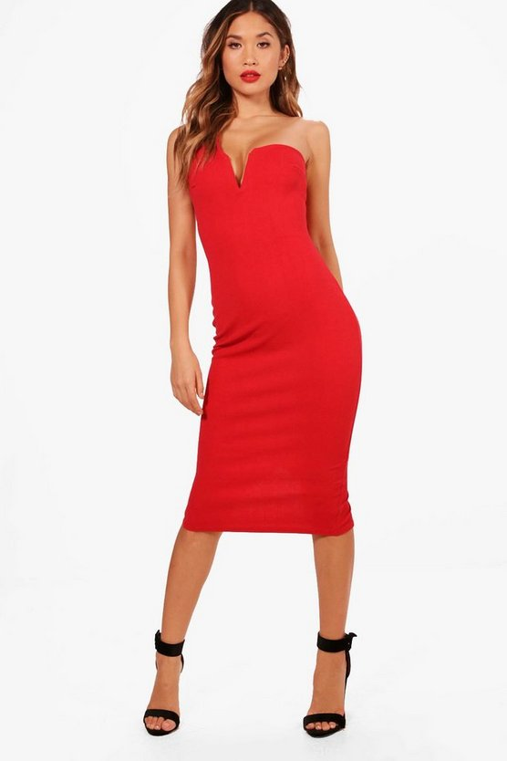 Jess One Shoulder Plunge Neck Midi Dress