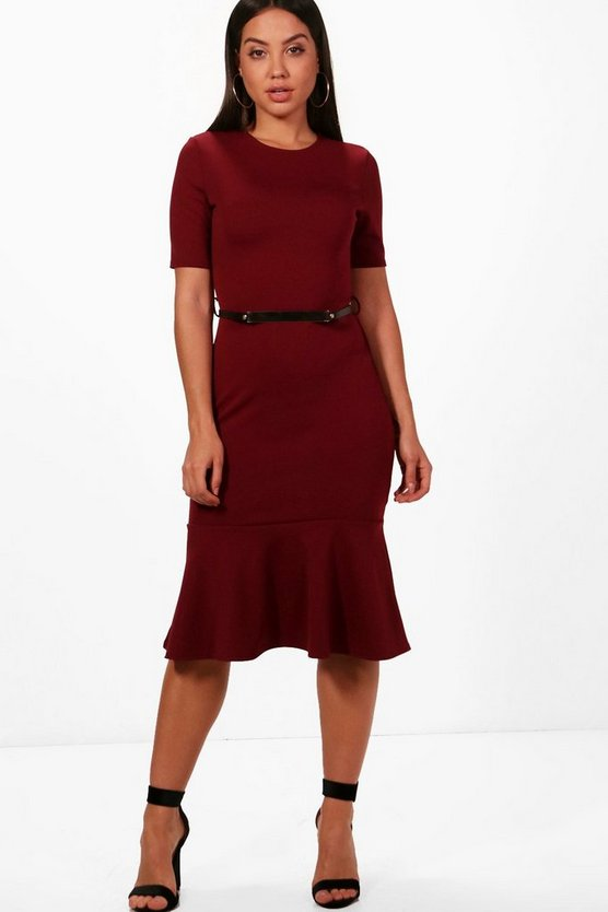 Michelle Formal Belted Flute Hem Midi Dress