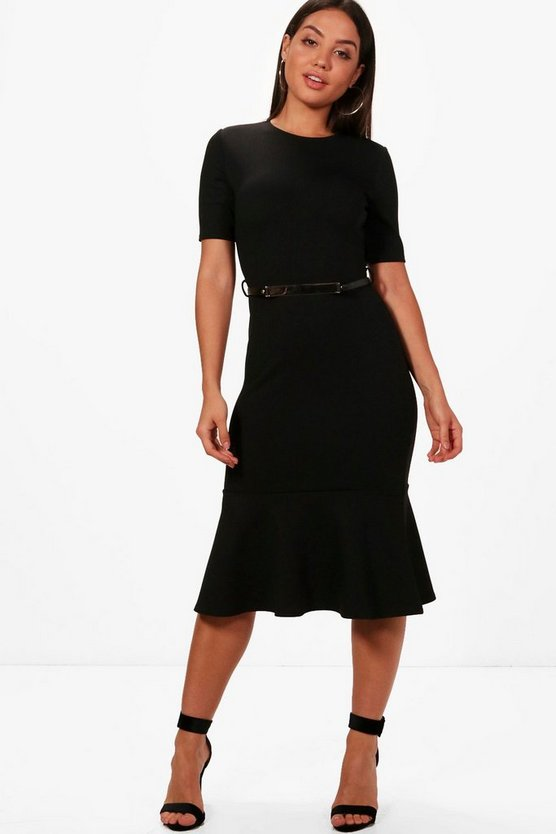 Formal Belted Flute Hem Midi Dress