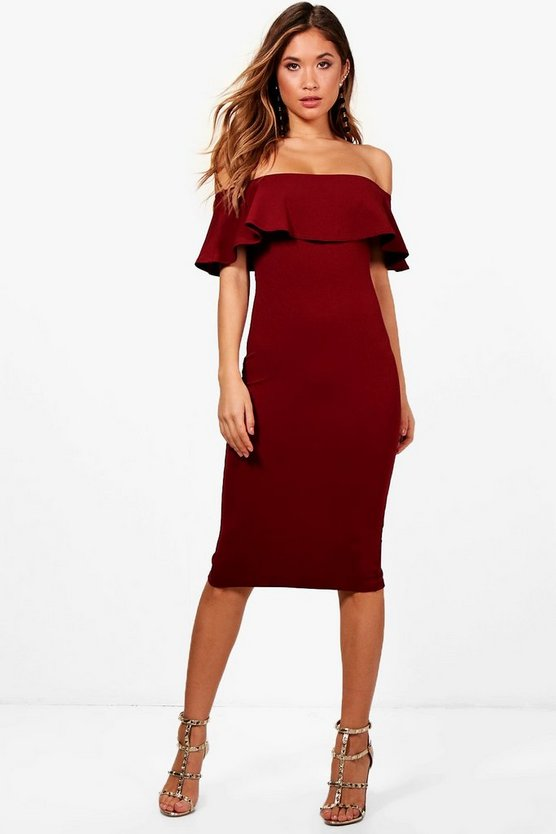 Carly Off the Shoulder Frill Midi Bodycon Dress