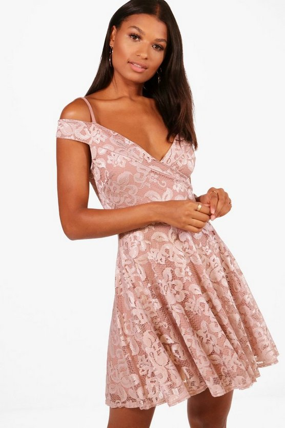 Lucie Cold Shoulder Lace Skater Dress