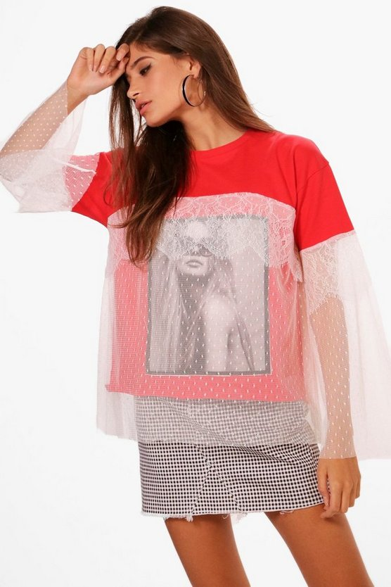 Grace Lace Overlay Printed T-Shirt