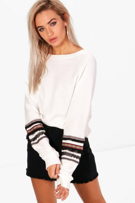 Freya Oversized Trim Sleeve Sweatshirt