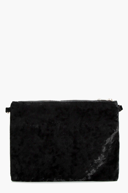 Crushed Velvet Ziptop Clutch - black - Angel Crush