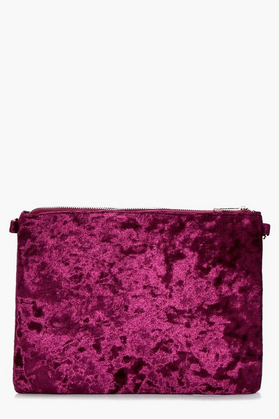 Angel Crushed Velvet Ziptop Clutch