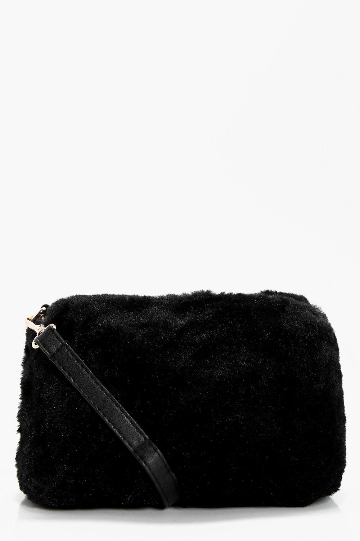 Faux Fur Cross Body - black - Violet Faux Fur Cros