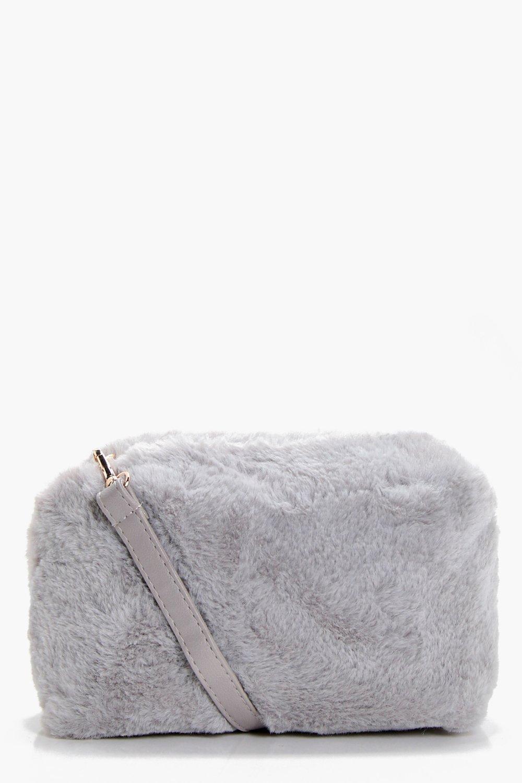 Faux Fur Cross Body - grey - Violet Faux Fur Cross