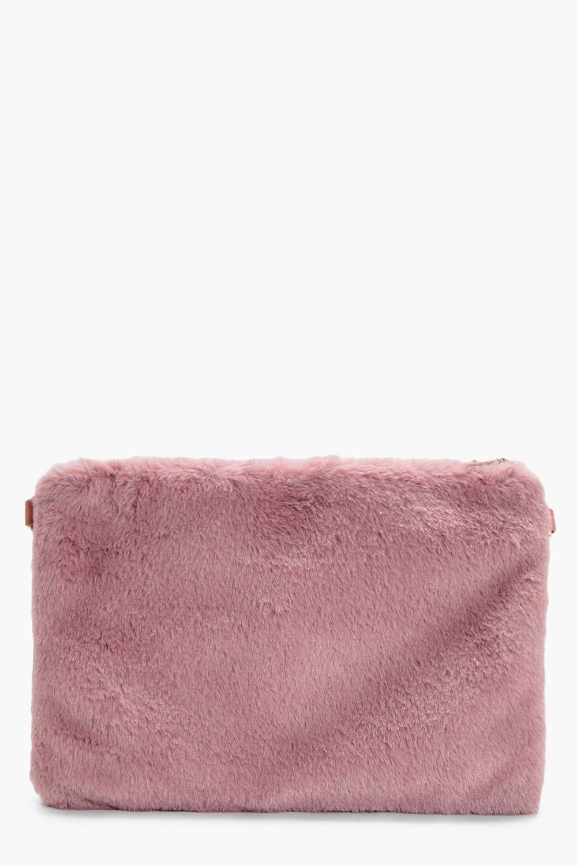 Faux Fur Ziptop Clutch - mauve - Darcy Faux Fur Zi