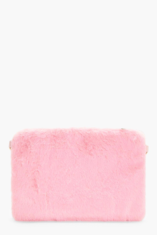 Faux Fur Ziptop Clutch - pink - Darcy Faux Fur Zip