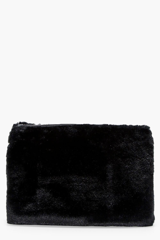Faux Fur Ziptop Clutch - black - Maisy Faux Fur Zi