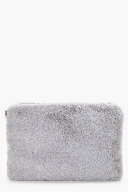 Faux Fur Ziptop Clutch - grey - Maisy Faux Fur Zip