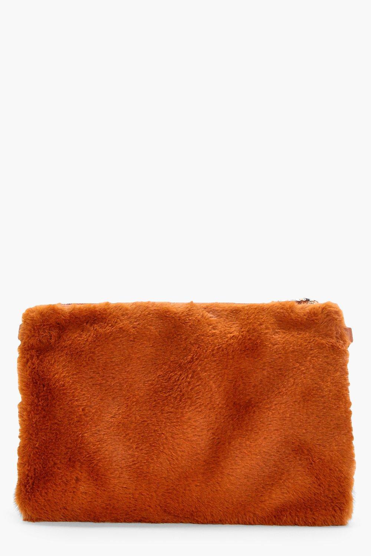 Faux Fur Ziptop Clutch - mustard - Maisy Faux Fur