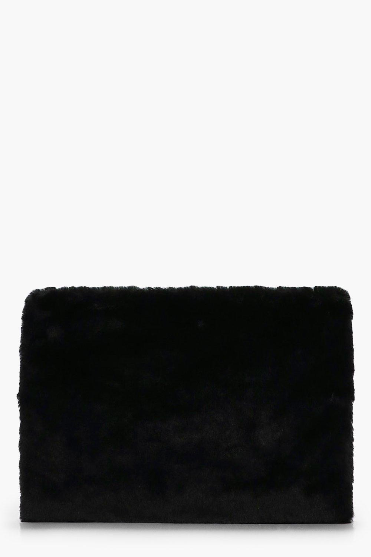 Fur Ziptop Clutch - black - Ellie Fur Ziptop Clutc