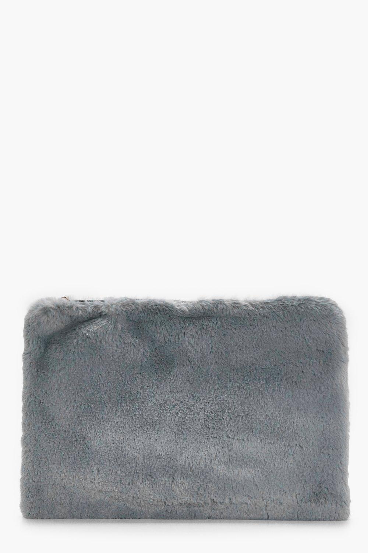 Fur Ziptop Clutch - grey - Ellie Fur Ziptop Clutch